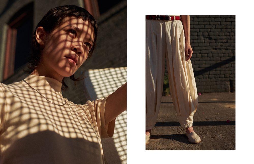 T-Shirt / Jacquemus  Necklace / Stylist's Own  Opposite T-Shirt / Jacquemus  Trousers / Vintage  Shoes / Vayarta