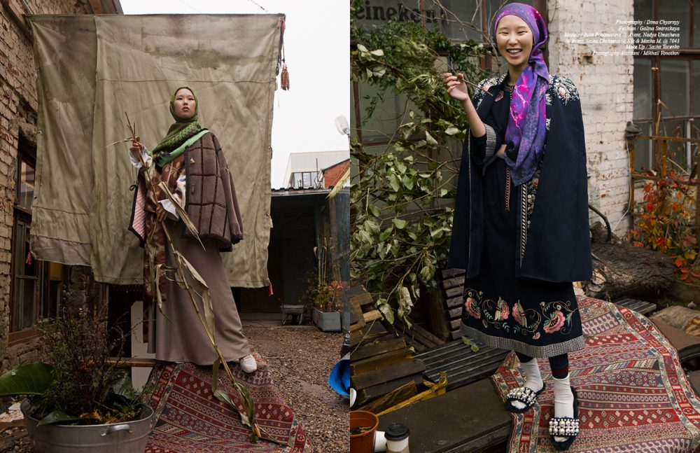 Bomber Jacket, Skirt & Jacket / Asiya Bareeva Shawl / ARSENICUM Trainers / Reebok Opposite Dress & Cape / Vilshenko Shawl / ARSENICUM Socks / Gucci Step-ins / Miu Miu