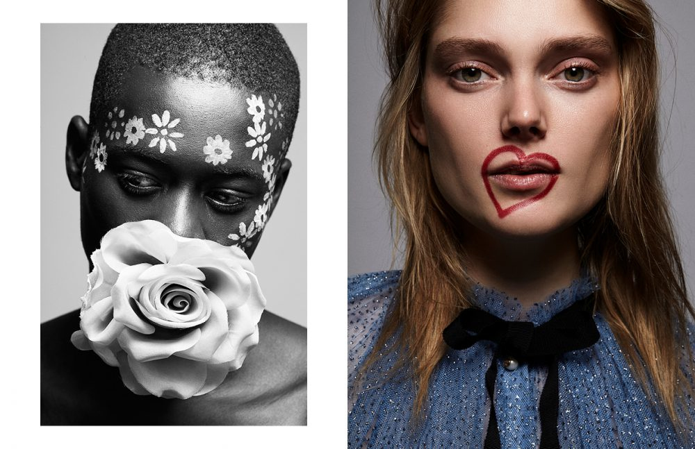 Alpa Dia @ Modelwerk wears Rose / Gucci Opposite Laura Winter @ Girlsclubmanagement wears Dress / Gucci