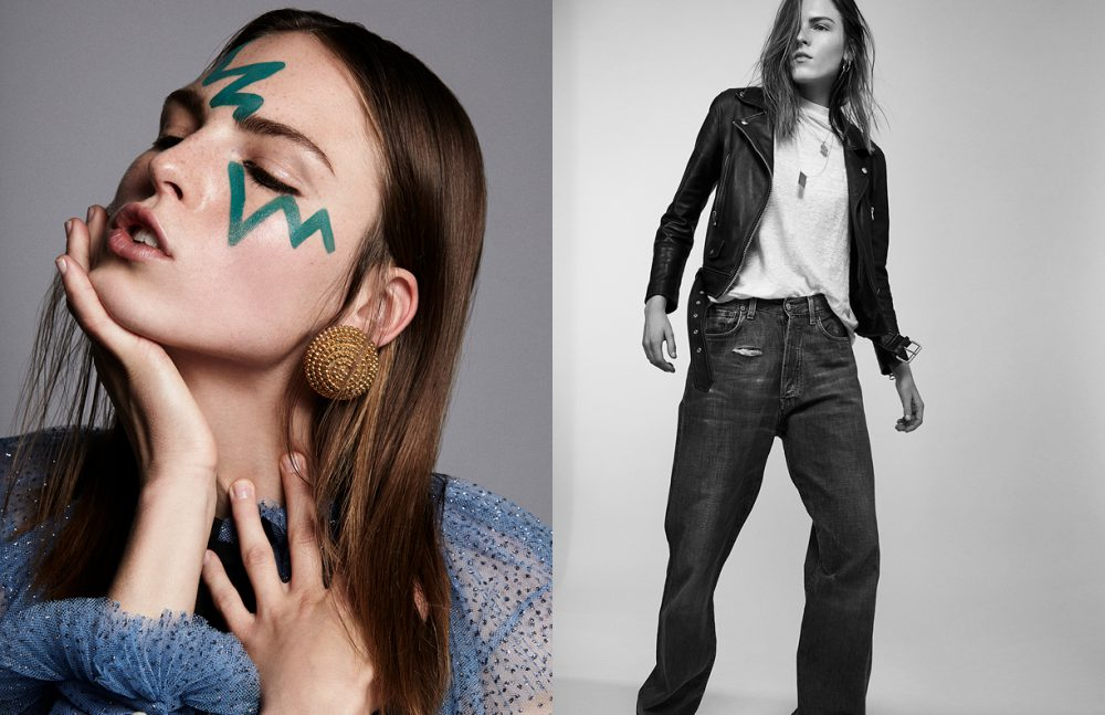 Polina Sova @ Placemodels wears Dress / Gucci Earring / Stylist's Own Opposite Polina Sova @ Placemodels wears Jacket / Acne Studios T-Shirt / Tiger of Sweden Jeans / Gucci Necklace / Stylist's Own
