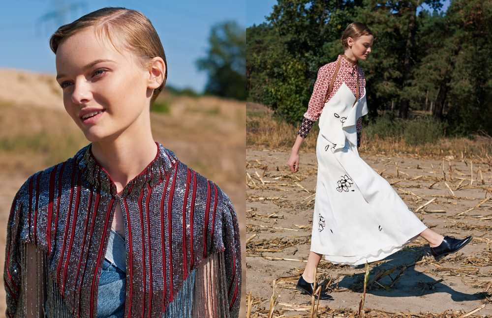Top / Vladimir Karaleev Shoulder Piece / SANDRO Opposite Blouse / SANDRO Dress / HUGO BOSS Shoes / Levi's Necklace / Missoni