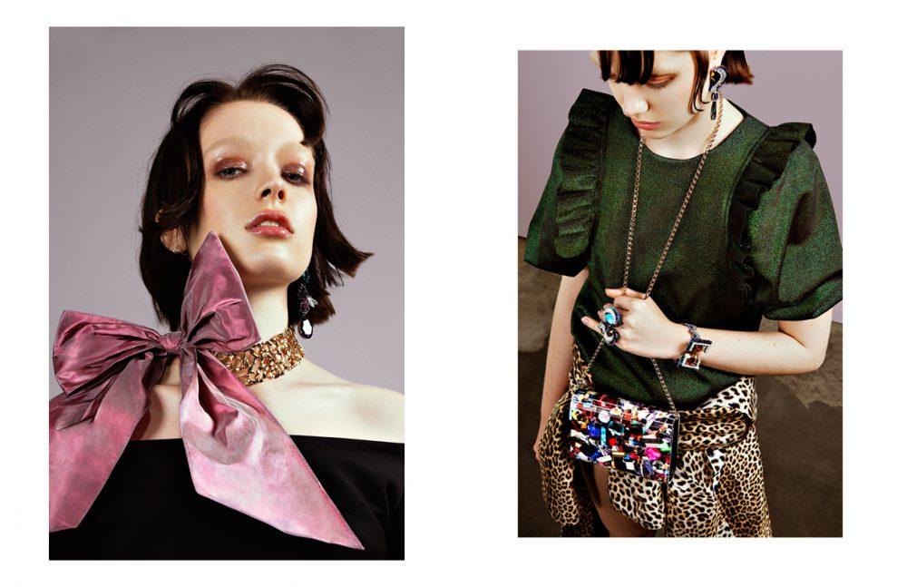 Top / ELLERY Necklace & Earring / Oscar de la Renta Opposite: Top / Essentiel Antwerp Coat (wrapped around hips) / Emilio Ungaro All Jewels / Swarovski Top / Antwerp Clutch / Jimmy Choo