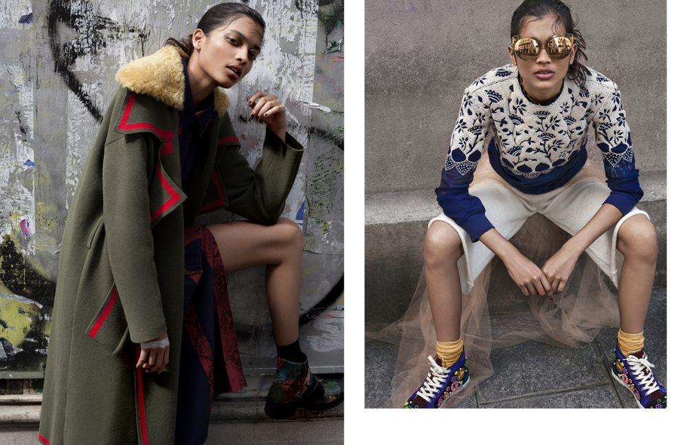 Coat, Dress & Boots / Burberry Socks / Gerbe Opposite Jumper / Rahul Mishra Shirt / Emanuel Ungaro Skirt & Shorts / Forte Forte Trainers / Louboutin Socks / FALKE