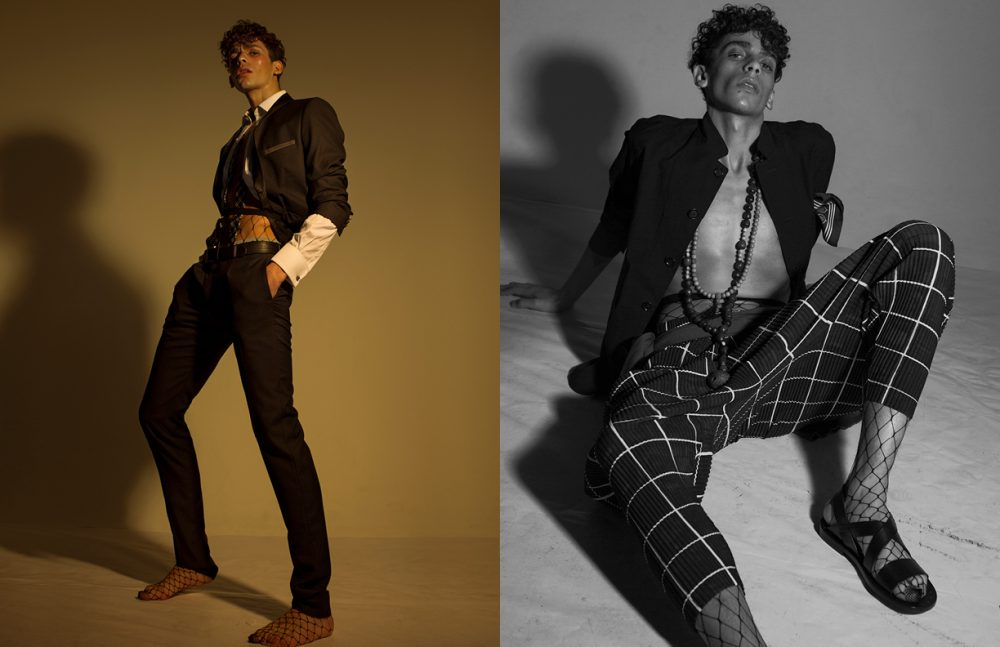 Suit / Azzaro Shirt & Tie / Hilditch & Key Belt / Pepe Jeans Fishnets / Wolford Opposite Jacket / Oliver Spencer Necklaces & Sandals / agnès b Trousers / HOMME PLISSÉ ISSEY MIYAKE Jumper / Zadig & Voltaire Fishnets / Wolford