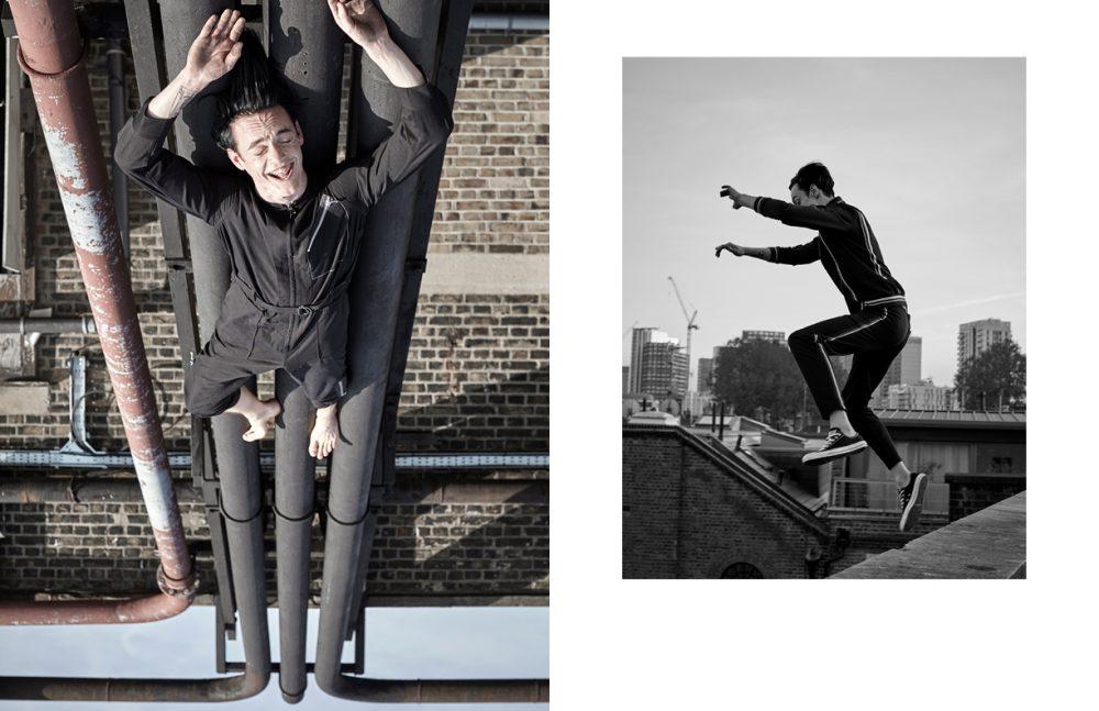 Jumpsuit / 3.1 Phillip Lim Opposite Suit / McQ Shoes / Converse