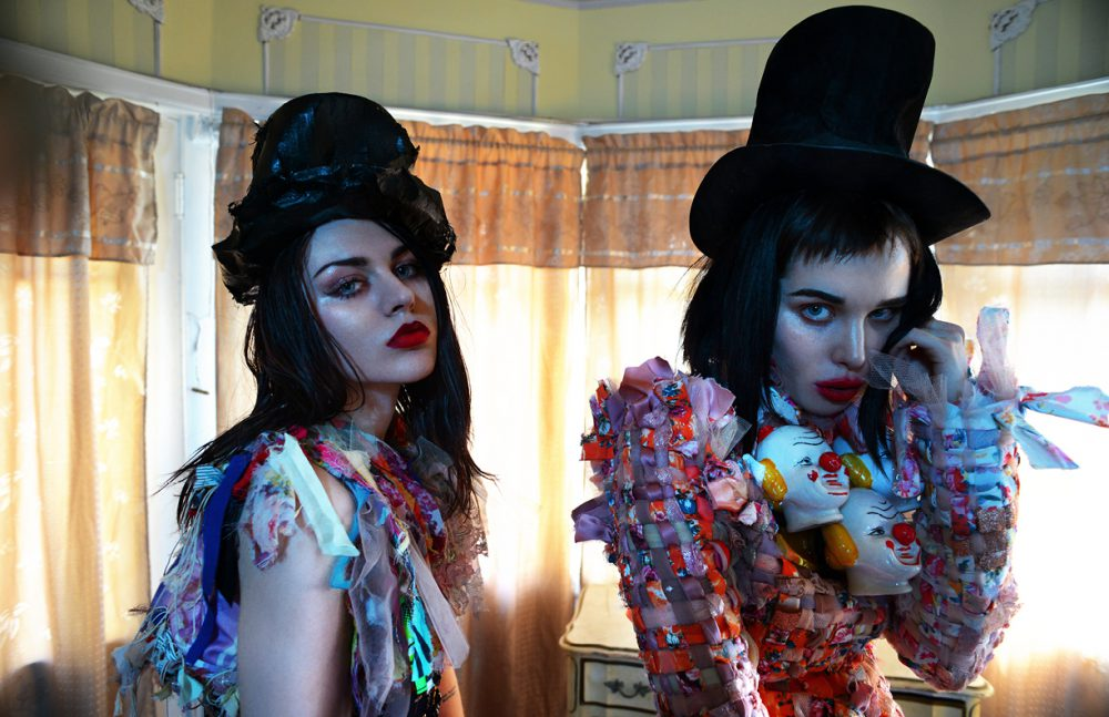 Frances & Alice wear Dresses & hats / Viktor & Rolf  Jewellery / Gasoline Glamour