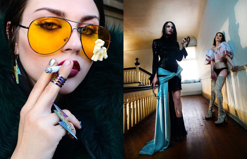 Jacket & shoes / Gaultier Paris  Sunglasses / Gasoline Glamour  Jewellery / Lynn Ban Jewelry Opposite Frances wears  Total look / Atelier Versace  Jewellery / Lynn Ban Jewelry Alice wears  Top / Giambattista Valli  Boots / Di$count Universe  Jewellery / Lynn Ban Jewelry
