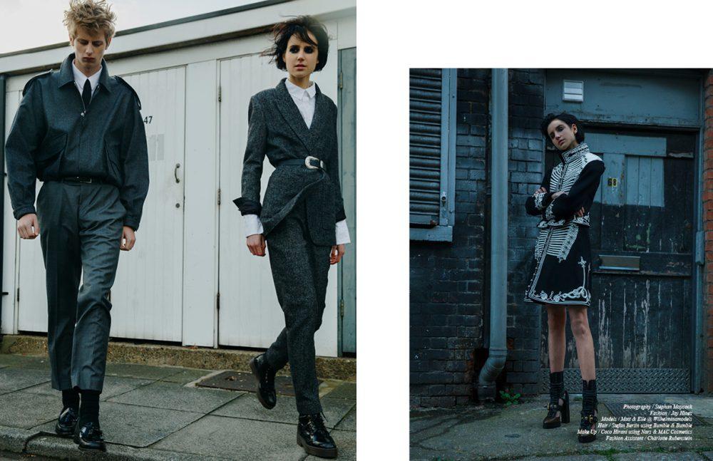 Matt wears Jacket / E. Tautz Shirt & Trousers / Tiger of Sweden Tie / Burberry Shoes / GH Bass & Co. Elle wears Blazer & Trousers / By Malene Birger Shirt / La Mania Bellt / The Kooples Boots / Stylist's Own Opposite Full Look / Burberry