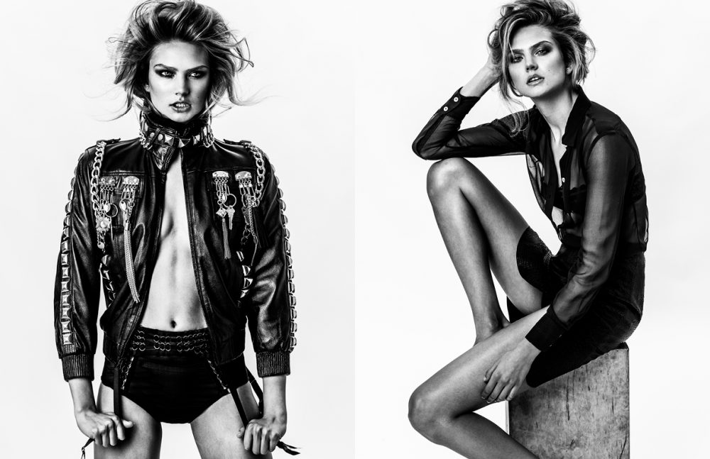 Jacket / Laurel DeWitt Briefs & Garter Belt / Body Binds Opposite Top / Religion Skirt / Roberto Cavalli