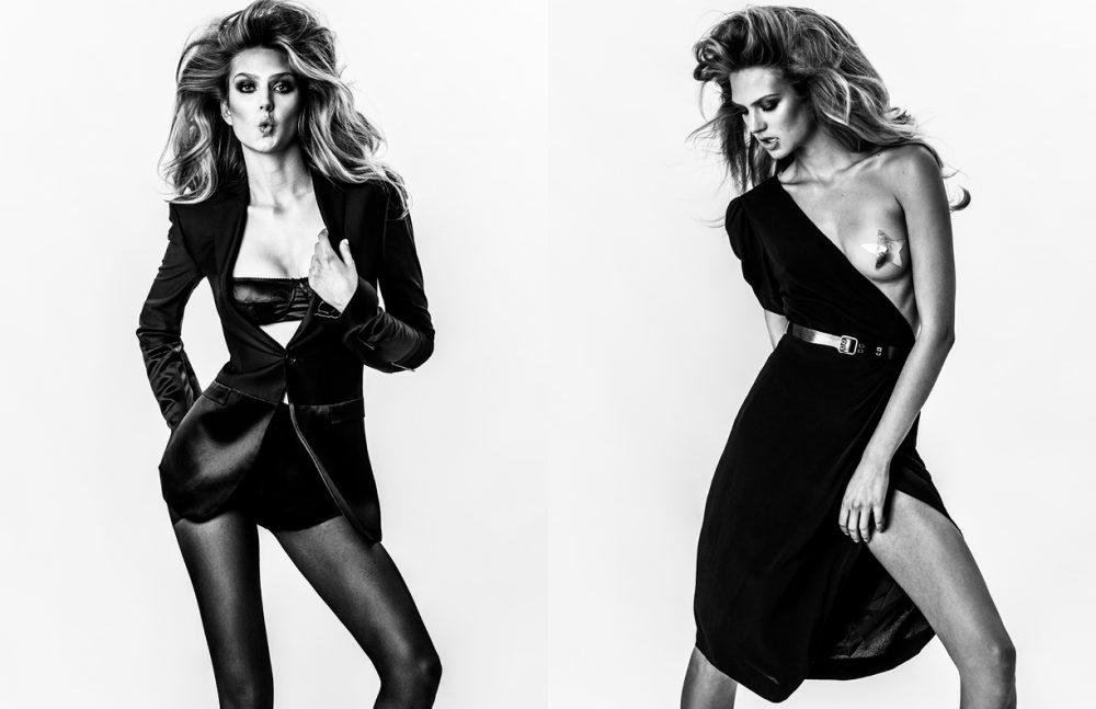 Blazer / Jil Sander Bra / Dolce & Gabbana Hosiery / FALKE Opposite Dress / Emanuel Ungaro Belt / Proenza Schouler Pasty / Nippies