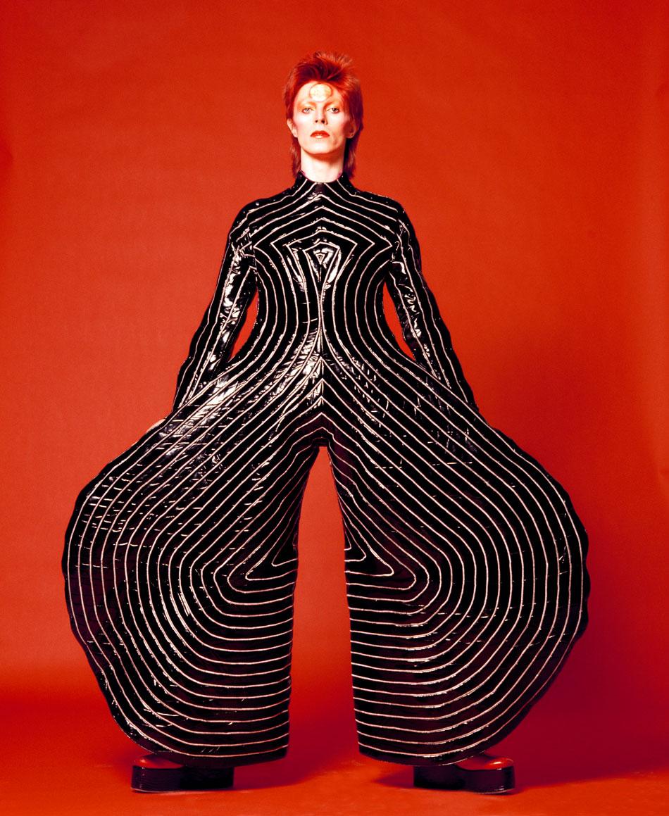 Striped bodysuit for Aladdin Sane tour 1973  Design by Kansai Yamamoto  Photograph by Masayoshi Sukita /Courtesy of The David Bowie Archive 2012