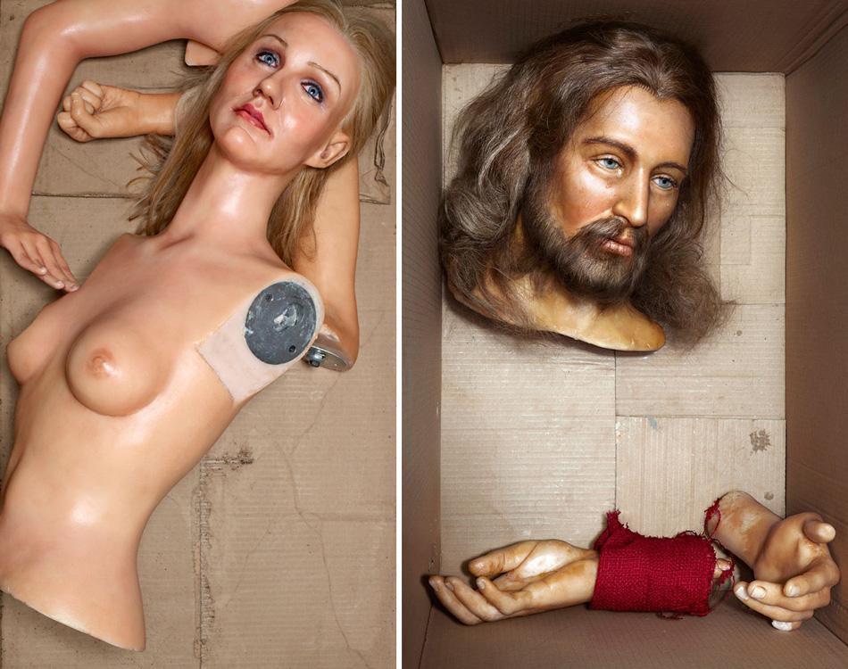 ©David LaChapelle, Courtesy Galerie Daniel Templon, Paris Left: David LaChapelle, Still Life: Cameron Diaz, 2009-2012. Right: David LaChapelle, The Last Supper: Jesus, 2009-2012