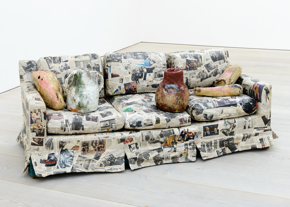 Jessica Jackson Hutchins Couch For A Long Time 2009 Couch, newspaper, ceramic 73.7 x 193 x 90.2 cm © Sam Drake, 2013 Image courtesy of the Saatchi Gallery, London