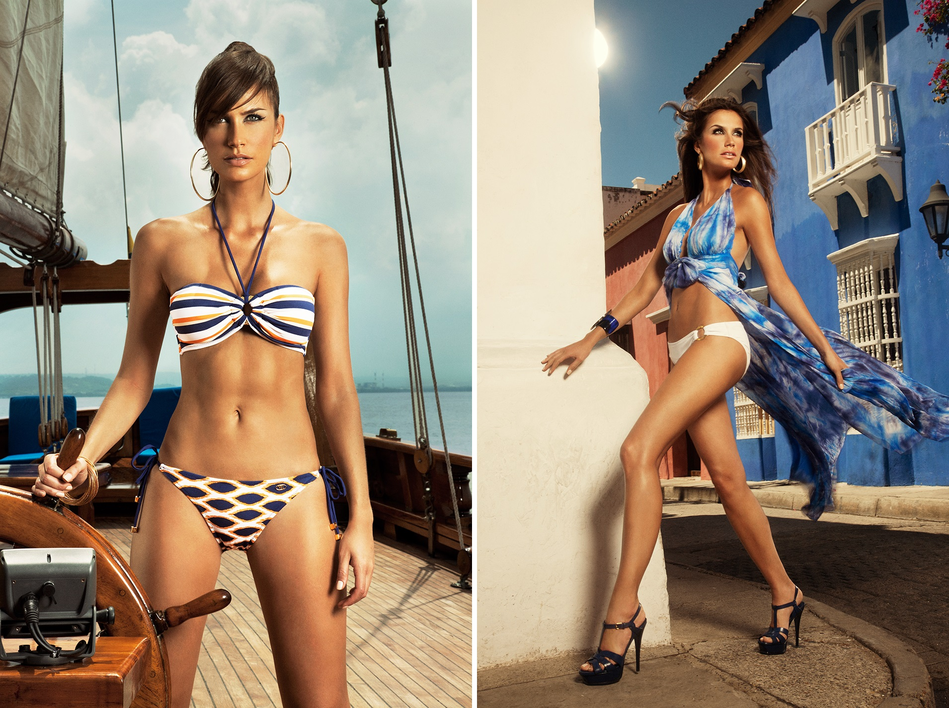 Left: Isabella Mixed Bikini Right: Santorini Cover Up Images courtesy of Verano High