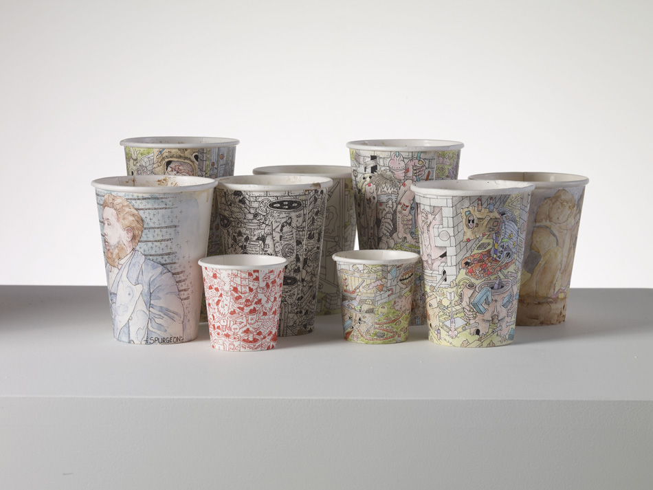 Paul Westcombe Coffee Cups 2008 9 coffee cups Dimensions variable ©Paul Westcombe Image courtesy of the Saatchi Gallery, London