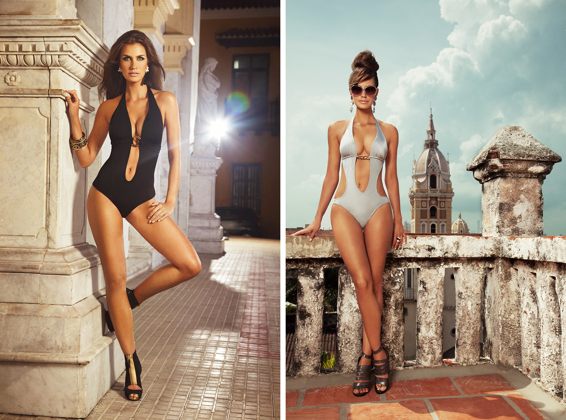 Left: Sobe Maillot Right: Monte Carlo Cut Out One Piece Images courtesy of Verano High