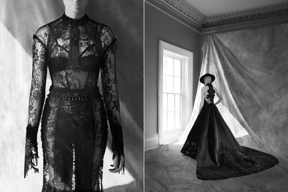 """Left: Tom Ford, dress. Chantilly lace with jet beading ; fall/winter 2011. Credit: Courtesy of Tom Ford, London. Right: Chado Ralph Rucci, gros de Londres """"Infanta"""" dress. Silk with chenille embroidery; fall/winter haute couture 2006. Credit: Courtesy of Chado Ralph Rucci, New York."""