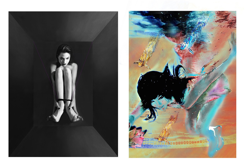 Left: Angelina suspended with purple thread. /// Right: Bjork swims with the fishes Photo credit: Kate Garner