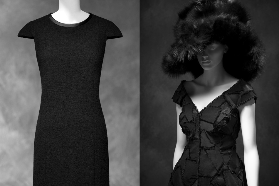Left: Chanel, dress, wool with silk trim ; fall/winter 2006. Credit: Savannah College of Art and Design Right: Marc Jacobs, dinner dress. Silk ; fallwiner 2012. Cedit: Courtesy of Rachel Feinstein, New York