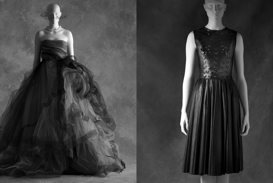 Left: Oscar de la Renta, robe de style Tulle and silk taffeta ; fall/winter 2012. Credit: Savannah College of Art and Design Right: Prabal Gurung, dress Leather ; fall/winter 2011. Credit: Courtesy of Prabal Gurung, New York