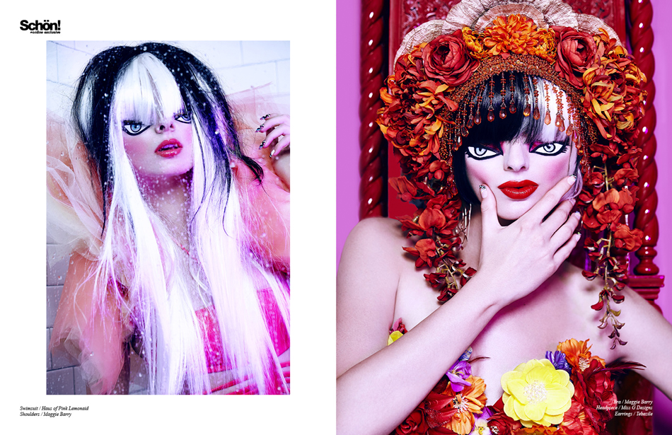 Photography by Alexander LeKing Left: Swimsuit / Haus of Pink Lemonaid, Tulle Shoulders / Maggie Barry Right: Bra / Maggie Barry, Headpiece / Miss G Designs, Earrings / Tebazile