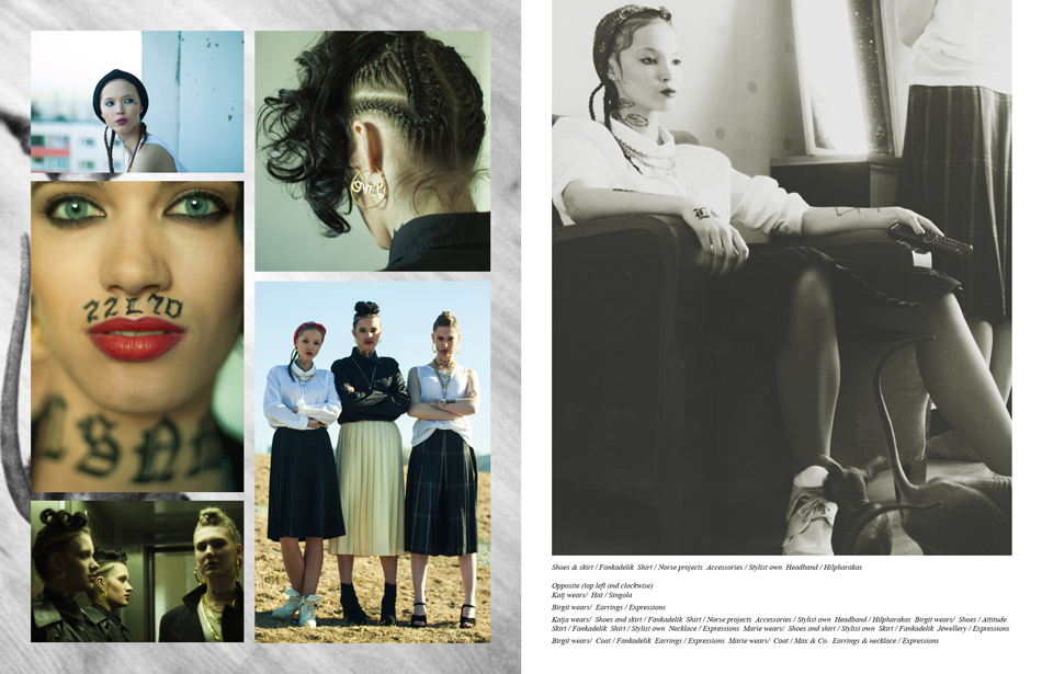 Left (top left and clockwise): Katj wears/ Hat / Singola Birgit wears/ Earrings / Expressions Katja wears/ Shoes and skirt / Fankadelik, Shirt / Norse projects, Accessories / Stylist own, Headband / Hilpharakas, Birgit wears/ Shoes / Attitude, Skirt / Fankadelik, Shirt / Stylist own, Necklace / Expressions, Marie wears/ Shoes and shirt / Stylist own, Skirt / Fankadelik, Jewellery / Expressions Birgit wears/ Coat / Fankadelik, Earrings / Expressions, Marie wears/ Coat / Max & Co., Earrings & necklace / Expressions Right: Shoes & skirt / Fankadelik, Shirt / Norse projects, Accessories / Stylist own, Headband / Hilpharakas