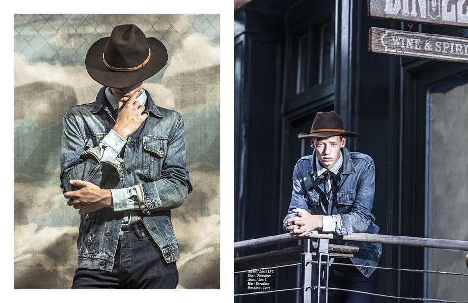 Jacket / Levi's, Shirt / Feltraiger, Jeans / Levi's, Hat / Borsalino, Bandana / Levis