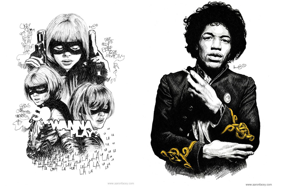 Portraits of Hit-Girl and Jimi Hendrix by Aaron Facey