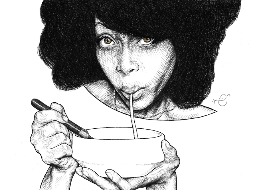 Portrait of Erykah Badu by Aaron Facey