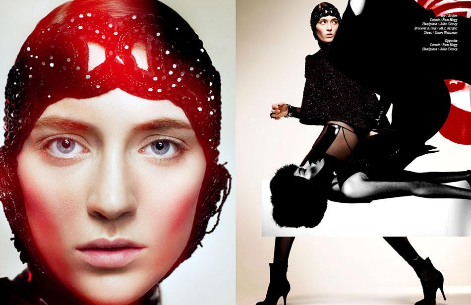 Left Catsuit / Pam Hogg  Headpiece / Julia Clancy Right Top / Erdem  Catsuit / Pam Hogg  Headpiece / Julia Clancy  Bracelet & ring / MCL designs  Shoes / Stuart Weitzman
