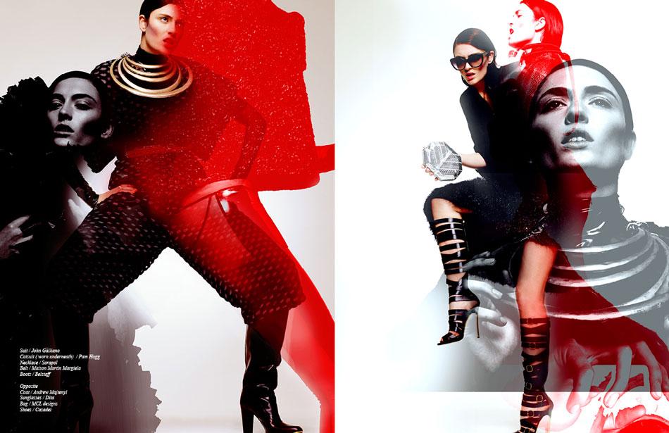 Left Suit / John Galliano Catsuit ( worn underneath) / Pam Hogg  Necklace / Sorapol Belt / Maison Martin Margiela Boots / Belstaff Right Coat / Andrew Majtenyi  Sunglasses / Dita Bag / MCL designs  Shoes / Casadei