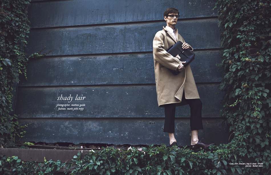 Coat, shirt, trousers, bag & shoes / Prada glasses / Robert Marc