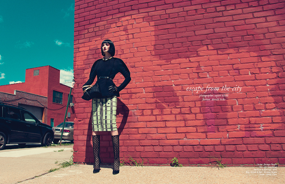 Jacket / Bottega Veneta Skirt / Lie Sang Bong Necklace & Earrings / Etro Bag, Gloves & Belt / Bottega Veneta Shoes / Jimmy Choo