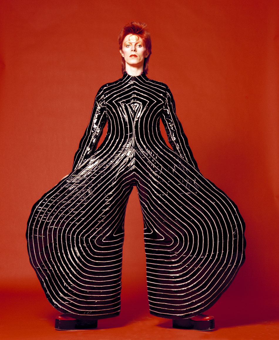Striped bodysuit for Aladdin Sane tour, 1973 Designed by Kansai Yamamoto for the Aladdin Sane tour /  Photograph by Masayoshi Sukita © Sukita The David Bowie Archive 2012