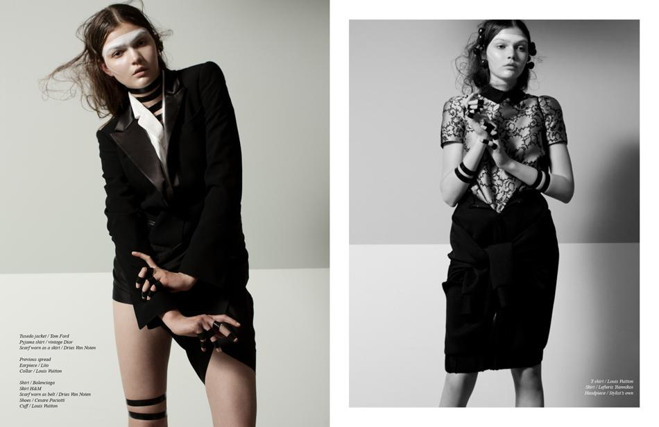 Left Tuxedo jacket / Tom Ford Pyjama shirt / vintage Dior Scarf worn as a skirt / Dries Van Noten Right T-shirt / Louis Vuitton Skirt / Lefteris Yiannikos Headpiece / Stylist's own
