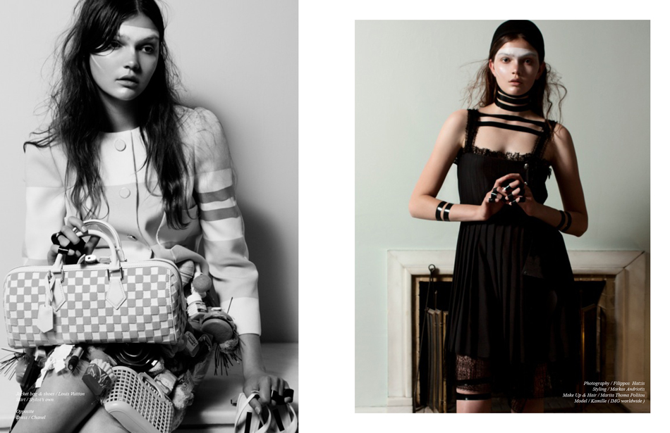 Left Jacket bag & shoes / Louis Vuitton  Skirt / Stylist's own Right Dress / Chanel