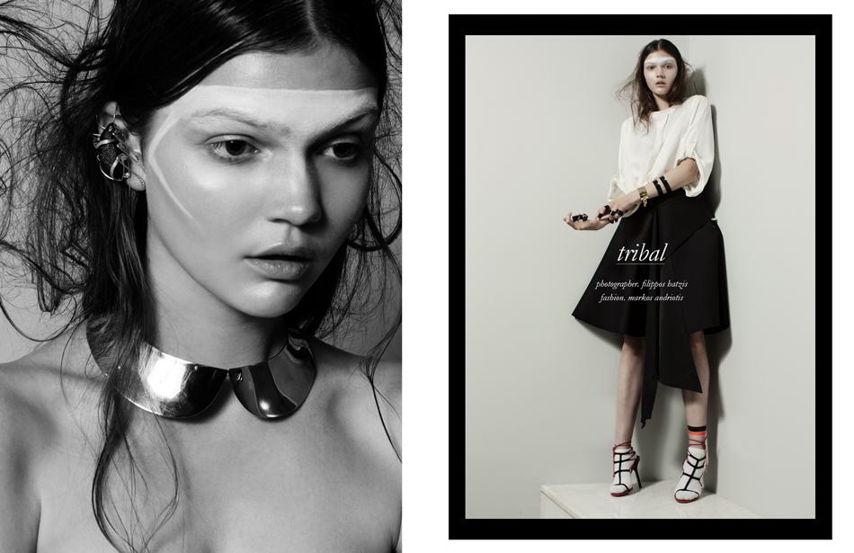 Left Earpiece / Lito  Collar / Louis Vuitton Right Shirt / Balenciaga Skirt H&M Scarf worn as belt / Dries Van Noten  Shoes / Cesare Paciotti Cuff / Louis Vuitton