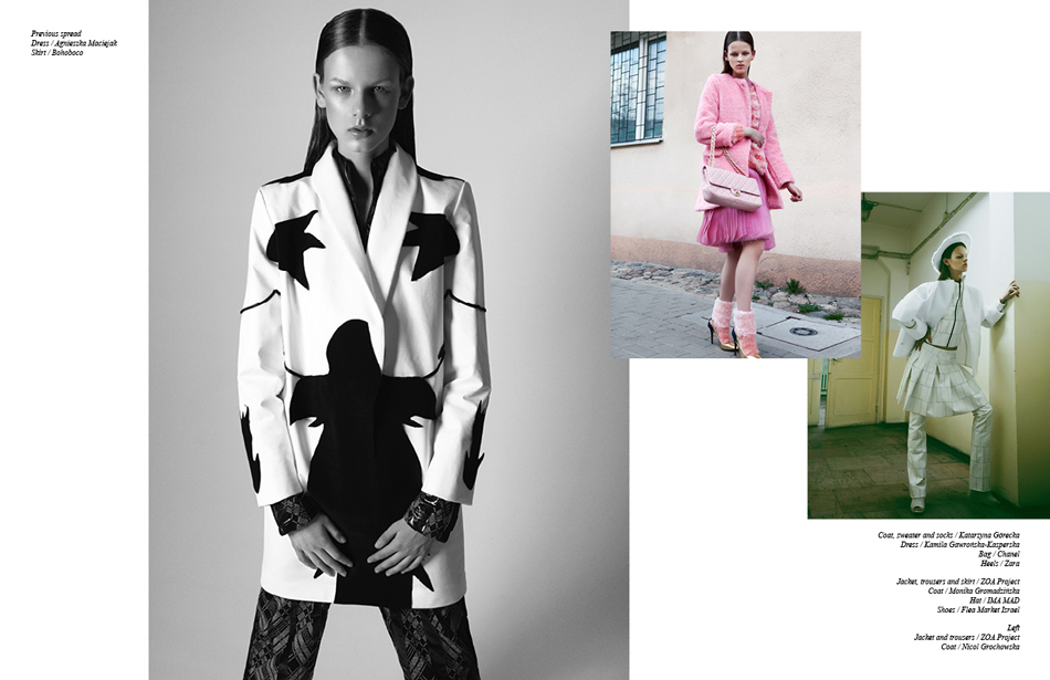 Photography / Lukasz Pukowiec Left: Jacket and trousers / ZOA Project, Coat / Nicol Grochowska Right: Coat, sweater and socks / Katarzyna Górecka, Dress / Kamila Gawrońska-Kasperska, Bag / Chanel, Heels / Zara ||| Jacket, trousers and skirt / ZOA Project, Coat / Monika Gromadzińska, Hat / IMA MAD, Shoes / Flea Market Israel