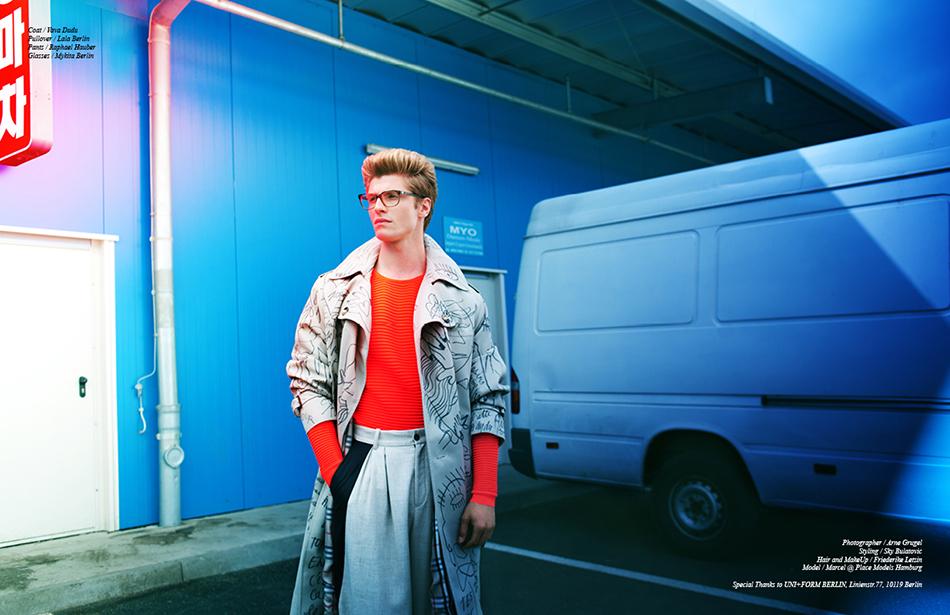 Coat / Vava Dudu Pullover / Lala Berlin Pants / Raphael Hauber Glasses / Mykita Berlin