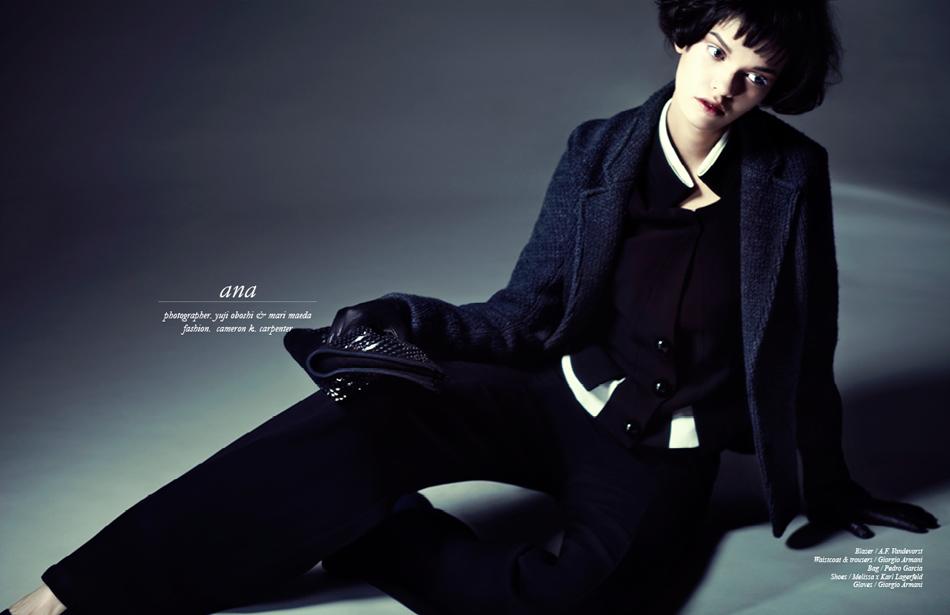 Blazer / A.F Vandervorst Waistcoat, Trousers & Gloves / Giorgio Armani Bag / Pedro Garcia Shoes / Melissa x Karl Lagerfeld