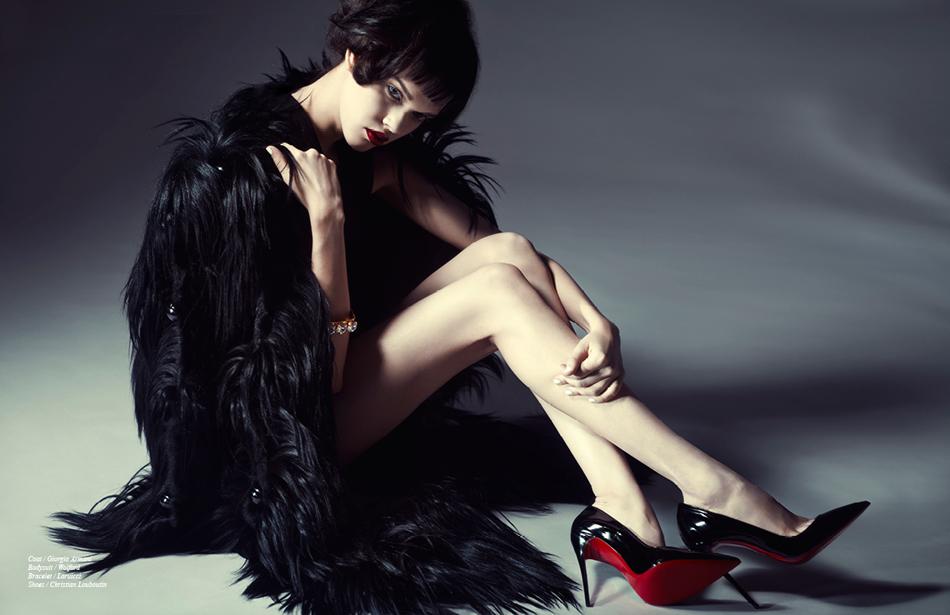 Coat / Giorgio Armani Bodysuit / Wolford Bracelet / Laruicci Shoes / Christian Louboutin