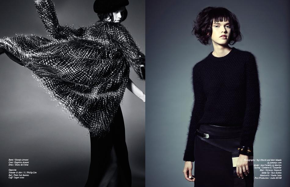 Left Beret / Giorgio Armani Coat / Emporio Armani Dress / Blanc de Chine Right Sweater & skirt / 3.1 Phillip Lim Belt / Plein Sud Jeanius Cuff / Sugar Scout