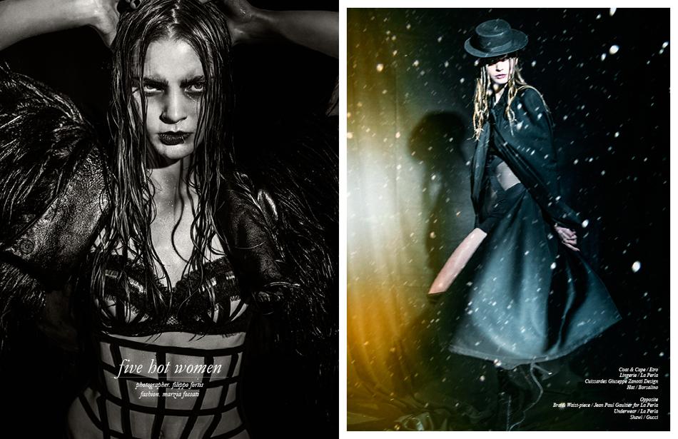 Left Bra & Waist-piece / Jean Paul Gaultier for La Perla Underwear / La Perla Shawl / Gucci Right Coat & Cape / Etro Lingerie / La Perla Cuissardes/ Giuseppe Zanotti Design Hat / Borsalino