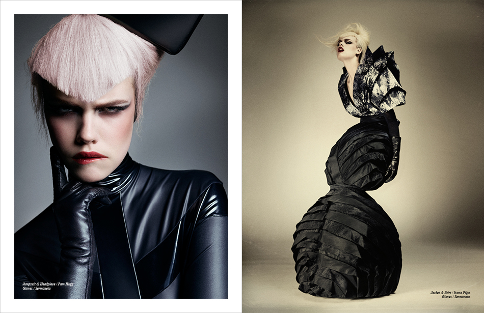 Left Jumpsuit & Headpiece / Pam Hogg Gloves / Sermoneta Right Jacket & Skirt / Ivana Pilja Gloves / Sermoneta