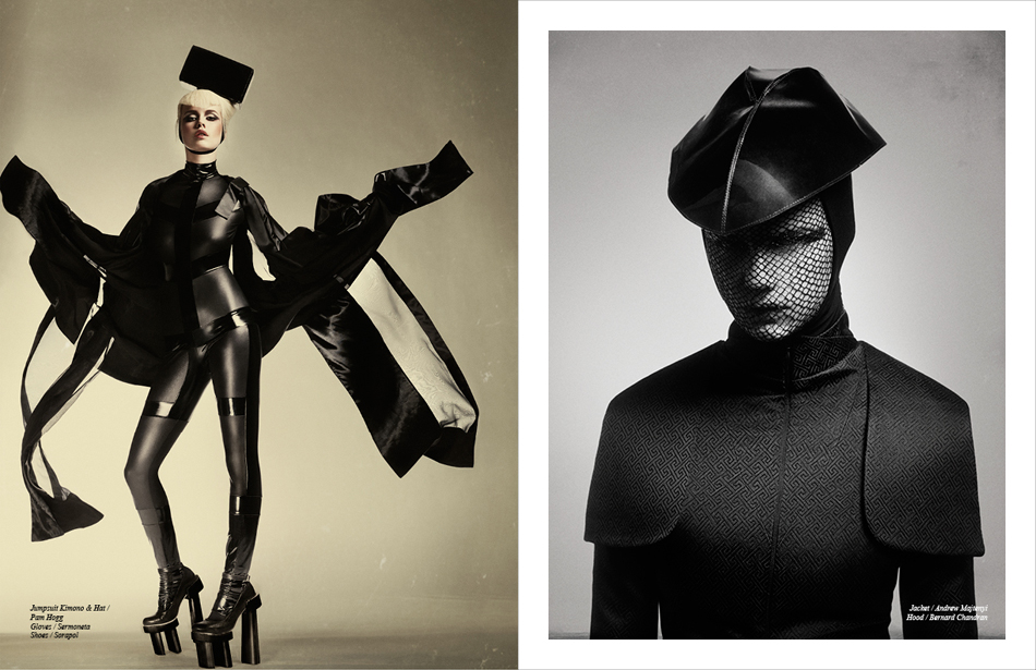 Left Jumpsuit, Kimono & Hat / Pam Hogg Gloves / Sermoneta Shoes / Sorapol Right Jacket / Andrew Majtenyi Hood / Bernard Chandran