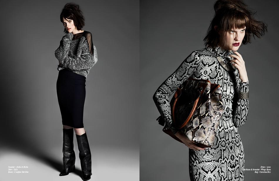 Left Sweater / Jutka & Riska Skirt / Stills Boots / L'Enfant Terrible Right Dress / Asos Necklace & bracelet / Wings Byou Bag / Caroline Biss
