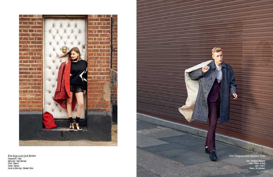 Left Kate Iorga assists Jack Borkett Sweatshirt / Neil Mini-kilt / Neil Barrett Coat / Kenzo Shoes / Kenzo Socks & Earring / Models Own Right Sam Thompson assists Madeleine Ostlie Suit / Original Penguin Coat / Viktor & Rolf Shirt / Levi's Shoes / Dr Martens