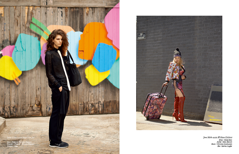 Left India Grove assists Hope Von Joel Shirt / Preen by Thornton Bregazzi Trousers / Preen by Thornton Bregazzi Trainers / Nike Right Jana Mello assists William Gilchrist Dress / Katie Eary Jacket / Mary Benson Boots / Christian Louboutin Hat / Markus Lupfer