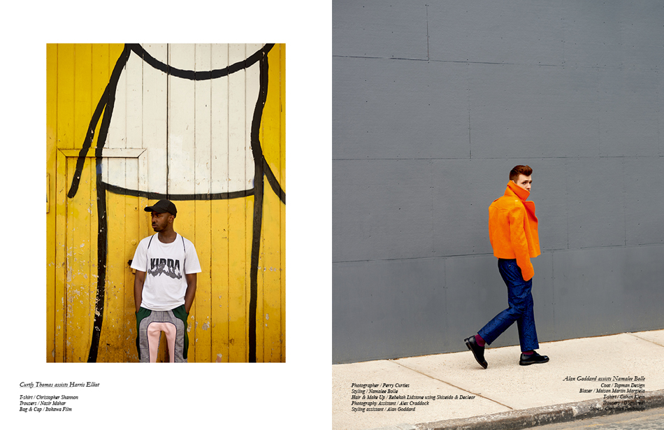 Left Curtly Thomas assists Harris Elliot T-shirt / Christopher Shannon Trousers / Nasir Mahar Bag & Cap / Itokawa Film Right Alan Goddard assists Namalee Bolle Coat / Topman Design Blazer / Maison Martin Margiela T-shirt / Calvin Klein Trousers / DSquared² Shoes / Christian Louboutin