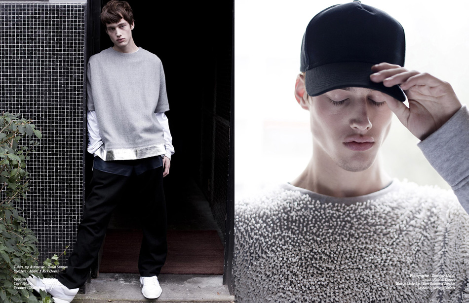 Left T-shirt, top & trousser / Shaun Samson Sneakers / Adidas X Rick Owens Right Cap / Volcom Sweaters / Shaun Samson